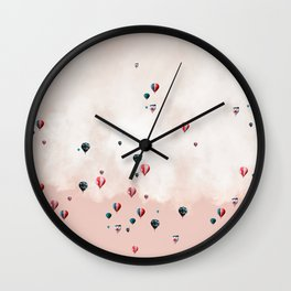 Hotair balloons with sweet cotton candy Wall Clock