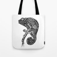 chameleon Tote Bags featuring Chameleon  by Ejaculesc