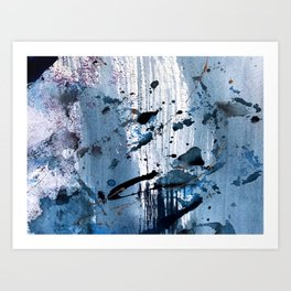 Breathe [6]: colorful abstract in black, blue, purple, gold and white Art Print