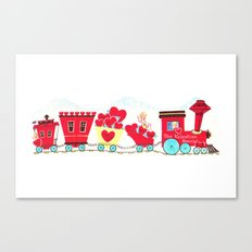 Vintage Valentine Day Card Inspired - Love, Romance, Romatic, Red, Hearts, Cherub, Angels Canvas Print