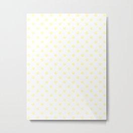 Electric Yellow on White Snowflakes Metal Print