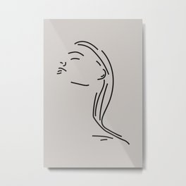 Line Art Female Portrait No.3 Metal Print