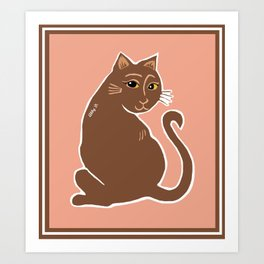 Brown Cat with Yellow Eyes Art Print