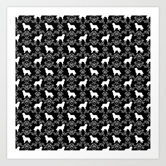 Bernese Mountain Dog florals dog pattern minimal cute gifts for dog lover silhouette black and white by petsilhouettes
