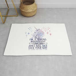 I am a strong independent unicorn - The lightning struck heart Rug
