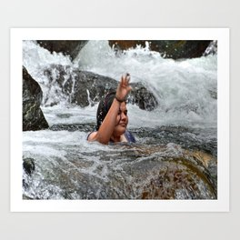 Gaby in the powerful Mameyes river - El Yunque rainforest PR Art Print