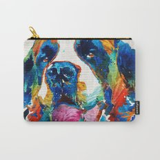 Colorful Saint Bernard Dog by Sharon Cummings Carry-All Pouch