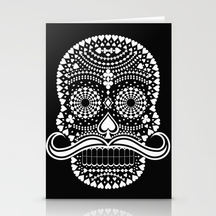 Black Skull  White Suits Stationery Cards