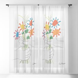 Picasso le bouquet colorful floral positive wall art, anti war print, room decor, picasso Sheer Curtain