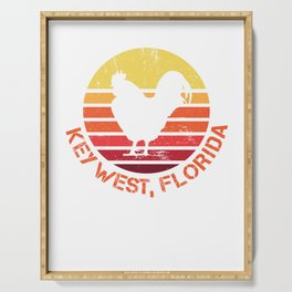 Retro Distressed Key West Florida Chicken Gift or Souvenir Design  Serving Tray