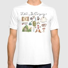 Let's Go Camping MEDIUM Mens Fitted Tee White