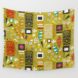 tiki yellow Wall Tapestry