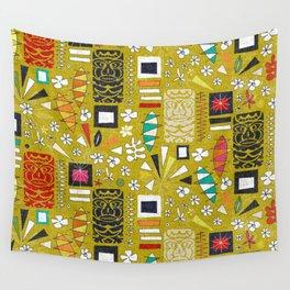 tiki yellow Wall Tapestry