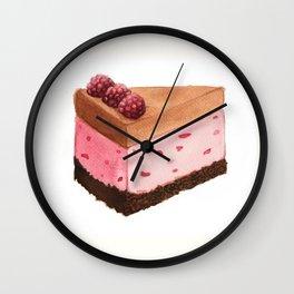 Raspberry Ice Cream Cake Slice Wall Clock