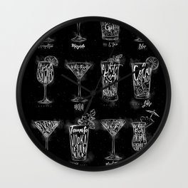 Cocktail menu graphic chalk Wall Clock
