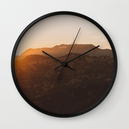 Hollywood Sign from Griffith in the sunset Wall Clock