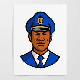 African American Policeman Mascot Poster