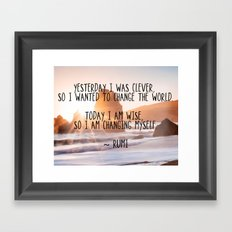 Motivational Rumi Quotation - Yesterday I was Clever Quote Art Framed Art Print
