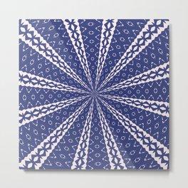 Navy Blue and Pink Bold Geo Kaleidoscope Metal Print