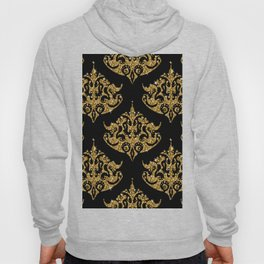 Black and faux gold glitter damasks patte Hoody