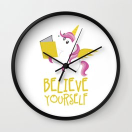 Unicorn Believe Yourself Magical Creatures Magic Fantasy Rainbow Fairytale Myth Horse Lovers Gift Wall Clock