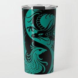 Teal Blue and Black Dragon Phoenix Yin Yang Travel Mug