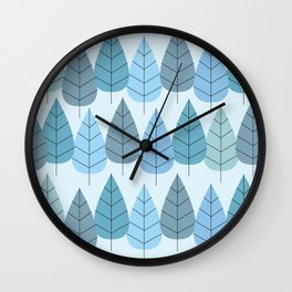 Mid century Trees in Blue Wall Clock