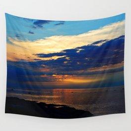 Blazing Sunset under Blue Sky Wall Tapestry
