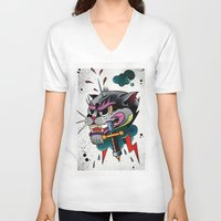 panther V-neck T-shirts featuring Panther by fishero