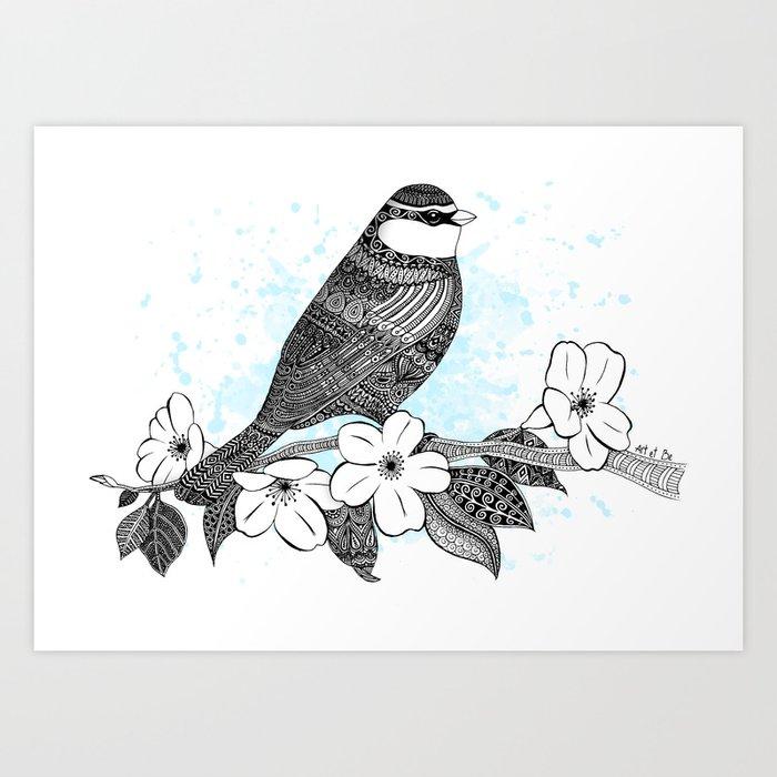 Bird and cherry blossoms Art Print