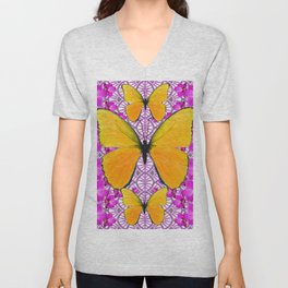 FUCHSIA COLORED  ORCHIDS &  YELLOW  BUTTERFLY FLORAL Unisex V-Neck