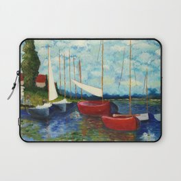 """Artistic Impression of Claude Monet's """"Red Boats at Argenteuil"""" Laptop Sleeve"""