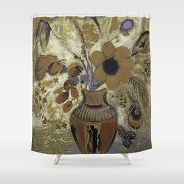 Etruscan Vase with Flowers - Odilon Redon Shower Curtain