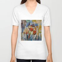 tulips V-neck T-shirts featuring Tulips by Michael Creese