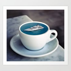 Yacht in the tea cup Art Print