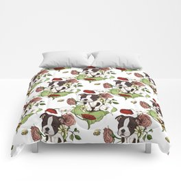 Boston Terrier Puppy Bouquet Comforters