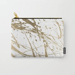 Artistic white abstract faux gold paint splatters Carry-All Pouch