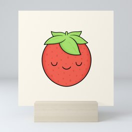 Happy Strawberry Mini Art Print