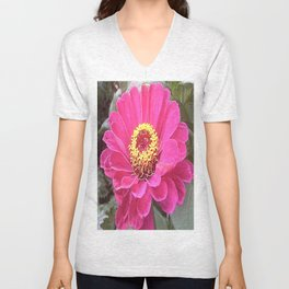 Purple Zinnia Unisex V-Neck