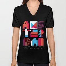 Postcards from Amsterdam / Typography Unisex V-Neck