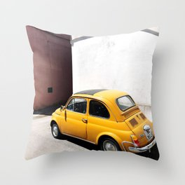 Yellow Tiny Car Throw Pillow