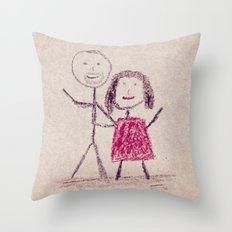 CRAYON LOVE: Boy meets Girl Throw Pillow
