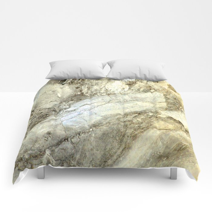 White Marble in Earth Tones Comforters