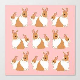 Blonde Dutch Rabbits Pattern Canvas Print