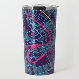 Baghdad Neon City Map, Baghdad Minimalist City Map Art Print Travel Mug