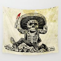 calavera Wall Tapestries featuring CALAVERA - DIA DE LOS MUERTOS by DAChiemsee