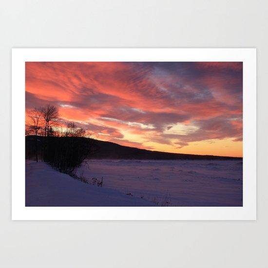 Wintry Sunset over the Porkies Art Print