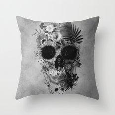 Garden Skull B&W Throw Pillow