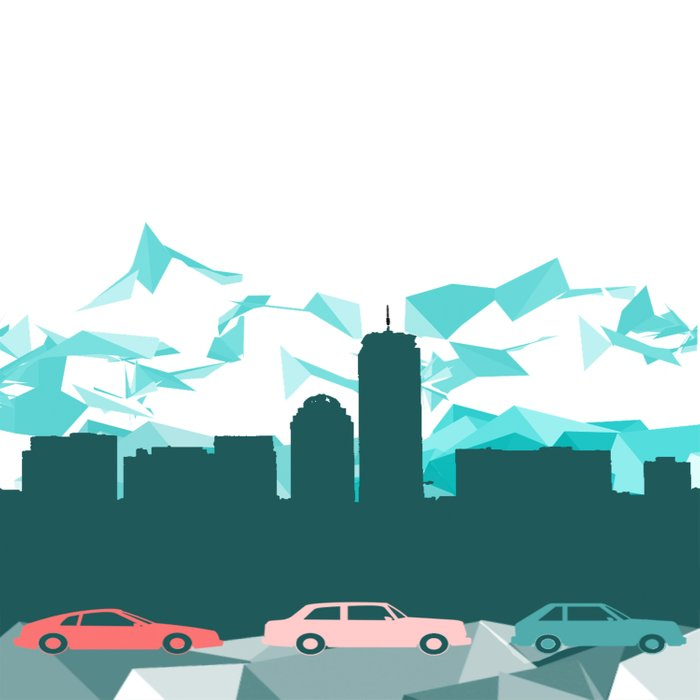 City, mountain and cars Duvet Cover