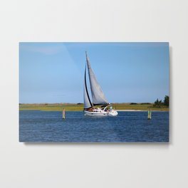 Sailing At Masonboro Island Metal Print
